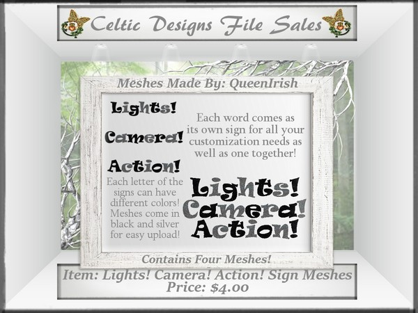 CD Lights! Camera! Action! Sign Mesh Collection