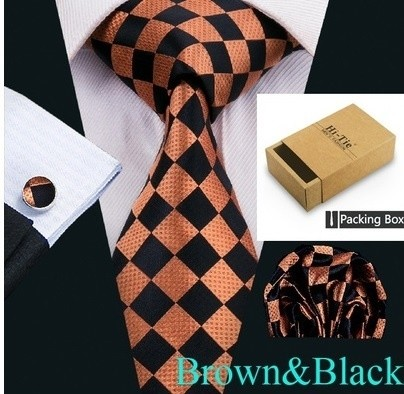 B Royal Designs Brown/Blk Checker Tie Set (Shipping Included)
