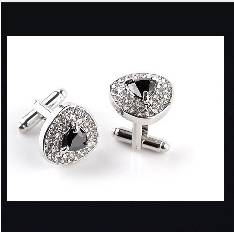 B Royal Designs Crystal and Black Cufflinks