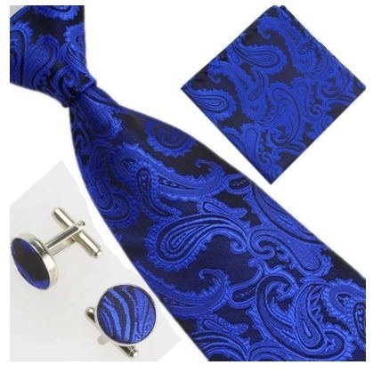 B Royal Blue/Blk Pasley Tie Set (Shipping Included)
