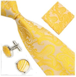 B Royal Gold/White Pasley Tie Set (Shipping Included)