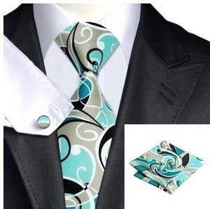 B Royal Designs  Gray/Blk/Aqua/White Tie Set (Shipping Included)