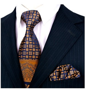 B Royal Designs Blue-Gold Elegant Tie and Hankie (Shipping included)