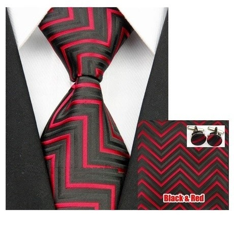 B Royal Red/Blk Angle Tie Set (Shipping Included)