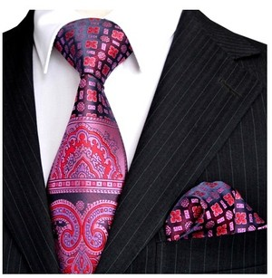 B Royal Designs Blue-Pink Elegant Design Tie and Hankie (Shipping included)