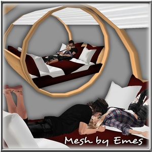 ROMANTIC BED 2 COUPLE POSES MESH