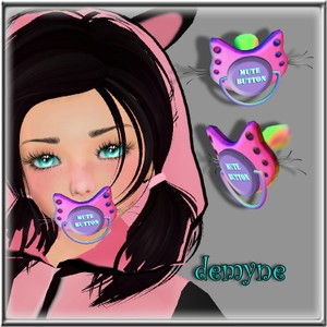 GIRLS CAT PACIFIER WITH WHISKERS ANIMATED MESH