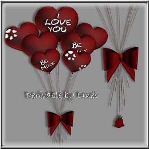 ANIMATED HEART BOW BALLOONS MESH