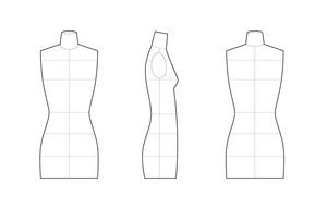 Female torso, mannequin for fashion technical drawings - Mannequin for fashion flats