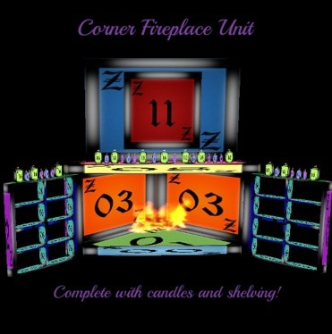IMVU Corner Fireplace Unit