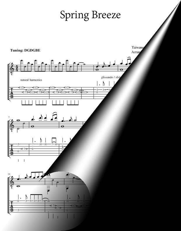 Spring Breeze (Taiwanese folk song) classical guitar sheet music