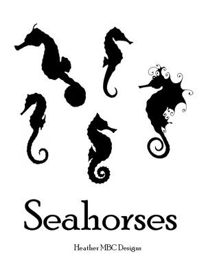 Seahorses Outline Templates Digital Patterns PDF
