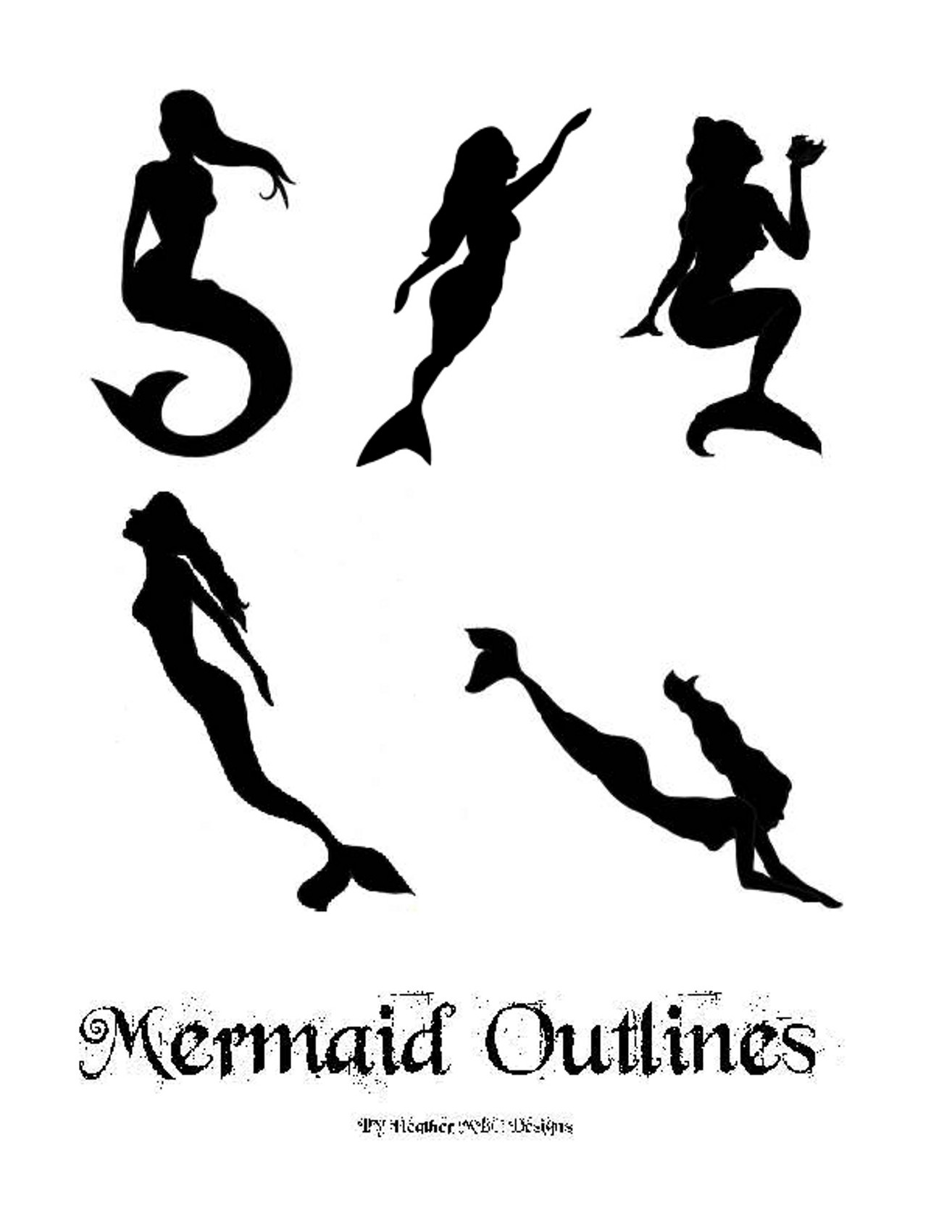 image about Mermaid Template Printable referred to as Mermaid Outlines and Templates