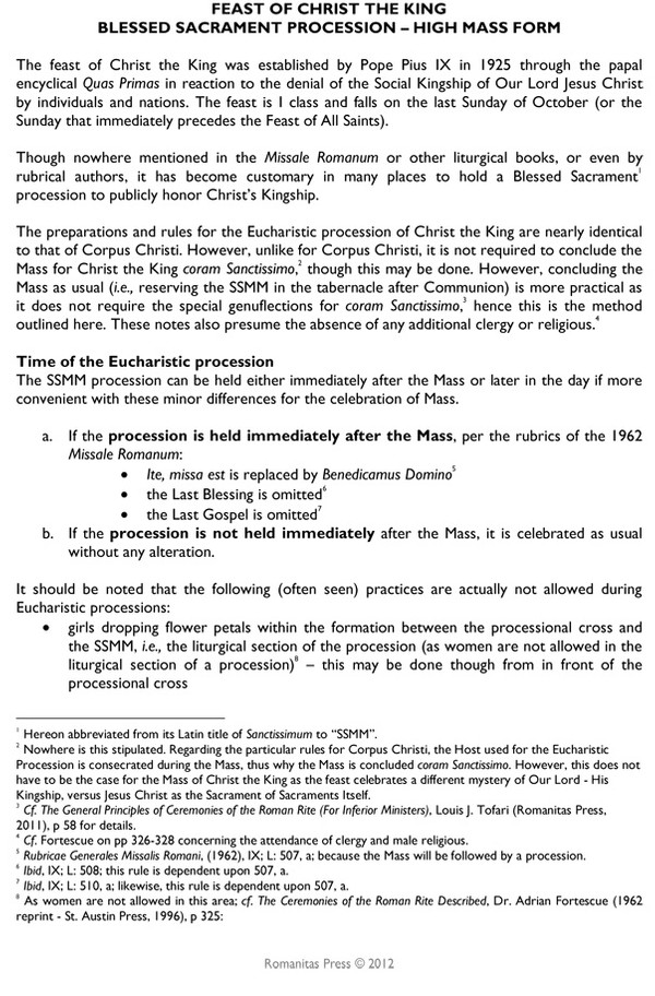 Christ the King Eucharistic Procession Notes