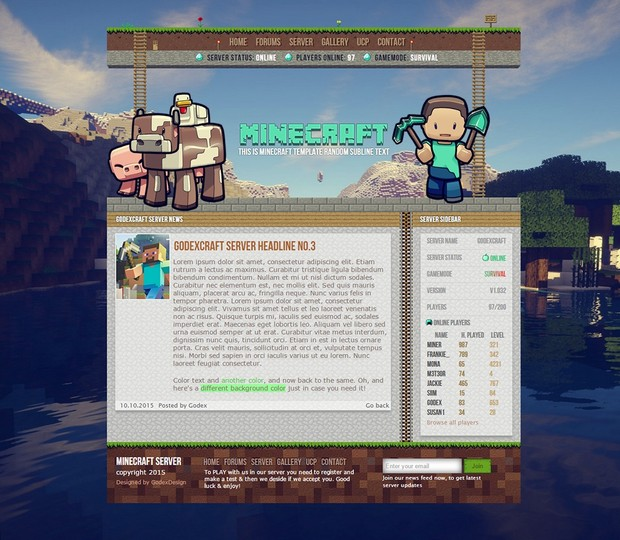 Mineccraft Template V3 - Full license