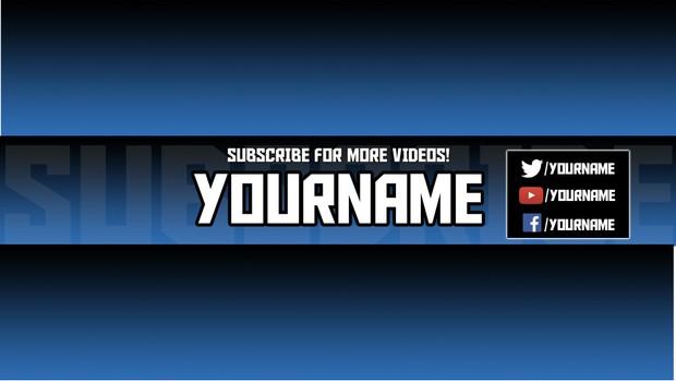 Clean Editable Youtube Banner Template PSD (Blue)