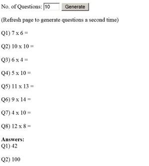 Multiplication Worksheet Generator for Grade 1 - Grade 4