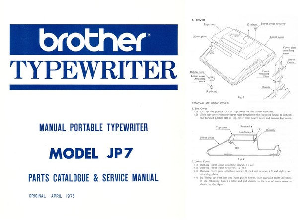 Brother JP-7 Manual Portable Typewriter Repair Adjustment Service Manual