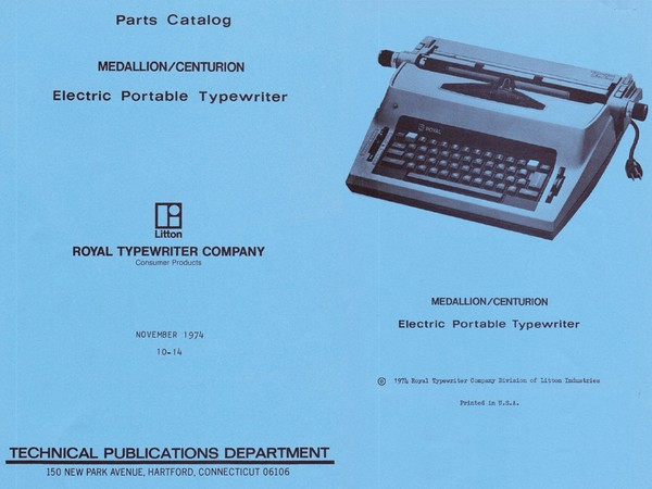 1974 Royal 2000 Centurion and Medallion 2000 Electric Portable Typewriter Parts Manual