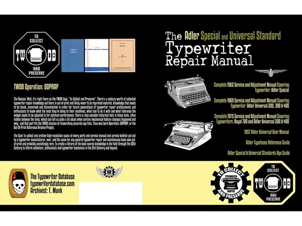 The Adler Special and Universal Standard Typewriter Repair Manual