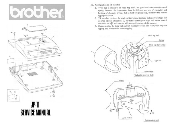 Brother JP-11 Electric Portable Typewriter Repair Adjustment Service Manual