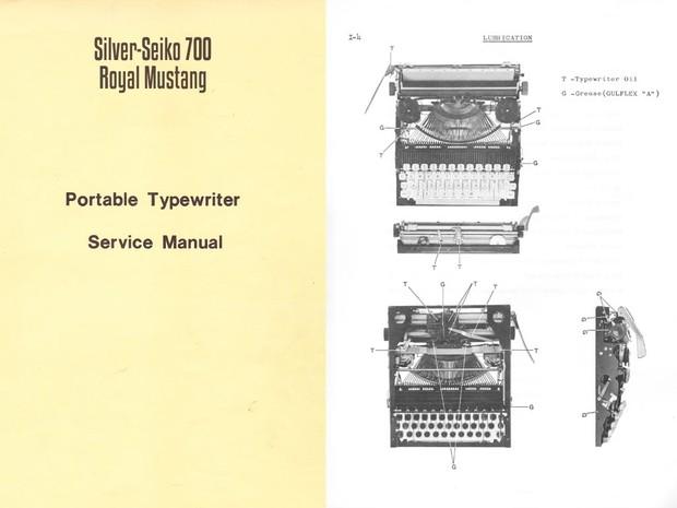 Silver-Reed 700, Royal Mercury, Mustang Portable Typewriter Service Repair Adjustment Manual