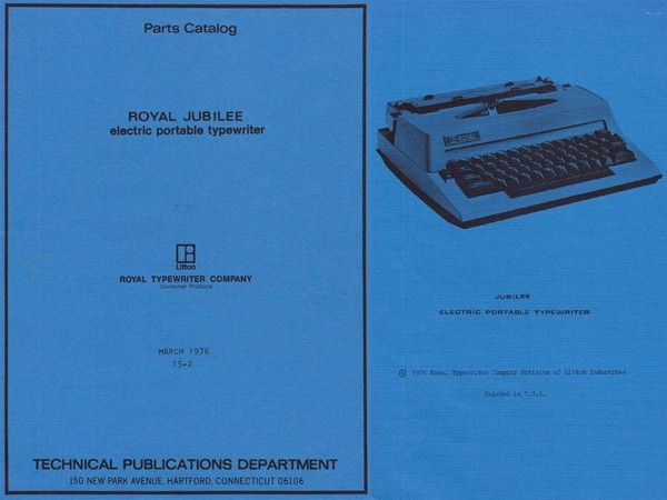 1976 Royal Jubilee Electric Portable Typewriter Parts Manual