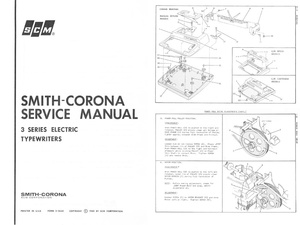Smith-Corona 3 Series Electric Portable Typewriter Repair Adjustment Service Manual