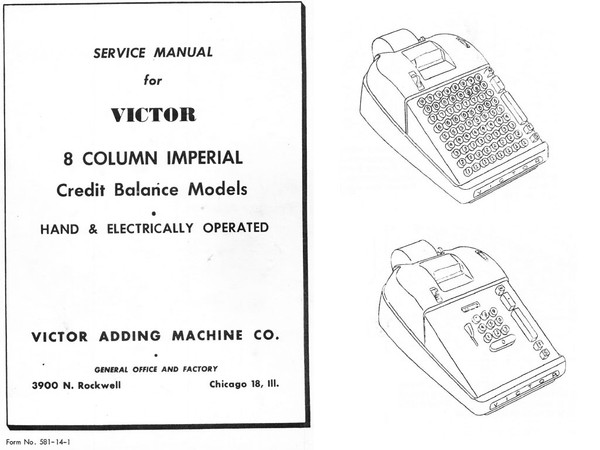 Service and Parts Manuals for Victor 16 and 17 Line 8-Column Imperial Credit Balance Models