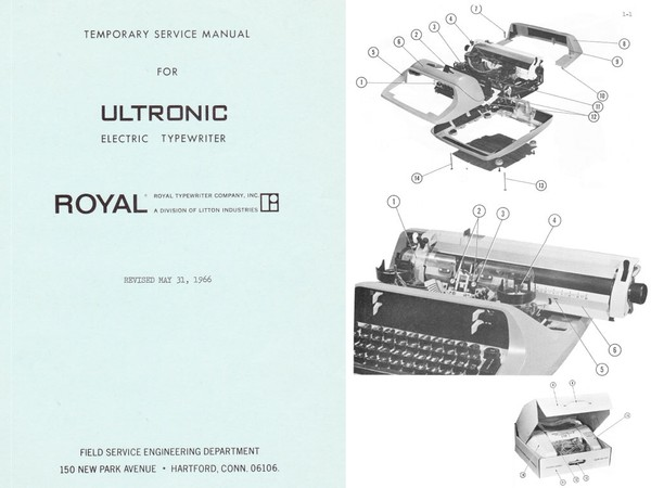 1966 to 1968 Royal Ultronic Electric Standard Desktop Typewriter Service Adjustment Manual