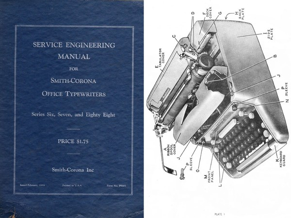1955 Smith-Corona Series 6 & 7 & 88 Standard Typewriter Service Adjustment Manual
