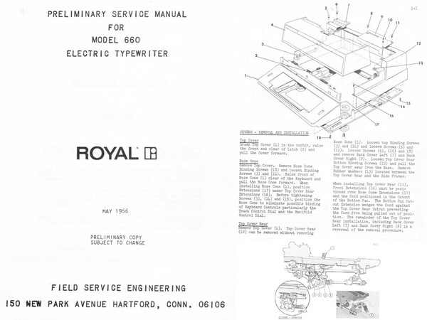 1966 Royal 660 Electric Standard Desktop Typewriter Service Adjustment Manual