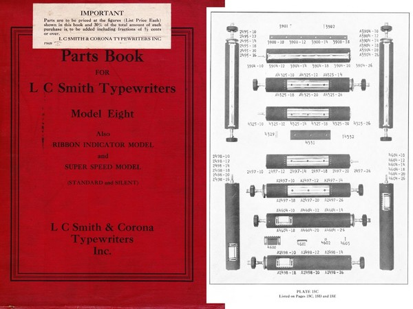 1938 Smith-Corona Model Eight Model 8 Parts Manual
