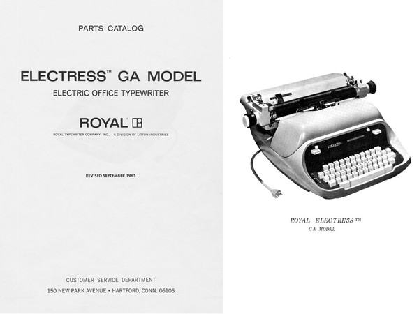 1965 Royal GA Electress Electric Standard Desktop Typewriter Parts Manual
