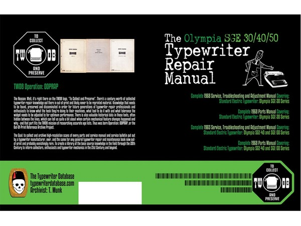The Olympia SGE 30/40/50 Typewriter Repair Manual