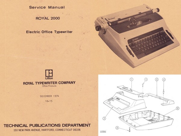 1974 Royal 2000 Centurion and Medallion Electric Portable Typewriter Service Adjustment Manual