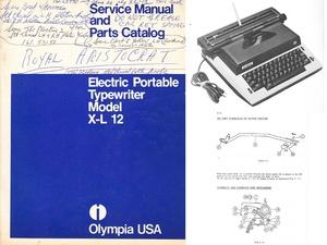 Olympia XL-12 Electric Portable Typewriter Service Repair Adjustment Manual