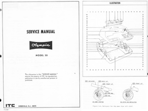 Olympia SGE-30 Electric Typewriter Service Repair Adjustment Manual