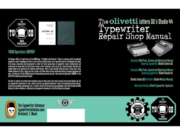 The Olivetti Lettera 32 & Studio 44 Typewriter Repair Shop Manual