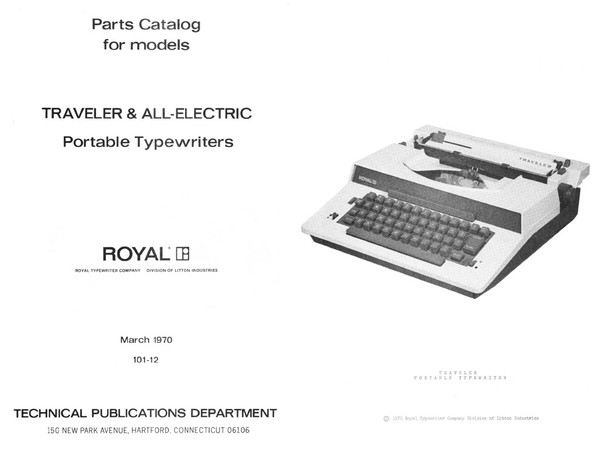 Royal All-Electric Typewriter Parts Manual, 1970.