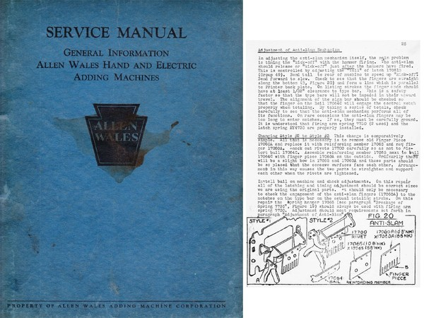 Service and Parts Manual for Allen-Wales Adder-Subtractor