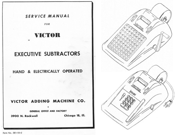 Service and Parts Manuals for Victor Executive 6 and 7 Line Subtractors