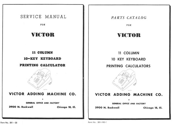 Service Manual and Parts Catalog for Victor 11 Column 10 Key Keyboard Printing Calculators