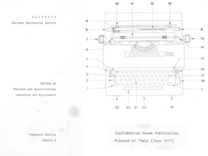 Olivetti Lettera 36 Electric Portable Typewriter Service Repair Adjustment Manual