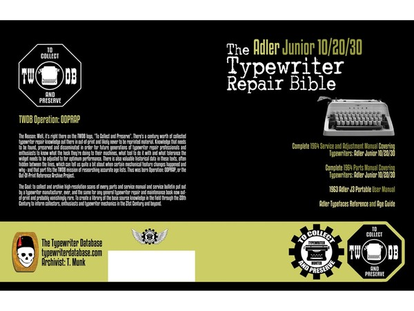 The Adler Junior 10/20/30 Typewriter Repair Bible