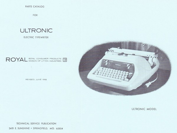 1968 Royal Ultronic Electric Standard Desktop Typewriter Parts Manual