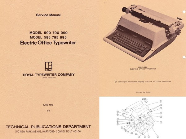 Royal 590, 595, 790, 795, 990, 995 Electric Typewriter Service Manual