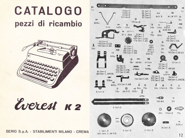 Parts Manual for Everest K2 Typewriter (Italian)