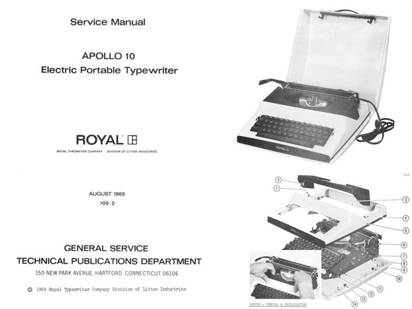 1969 to 1971 Royal Apollo and Award 1200 and Sears Electric Typewriter Service Adjustment Manual
