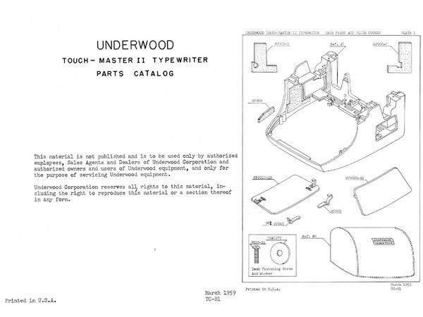 Underwood Touchmaster Two TM-2 and Five TM-5 Standard Typewriter Parts Manual